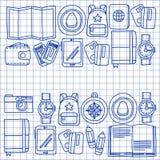 Комплект doodle вектора с приключением значков перемещения исследует картину Doodle рюкзака карты билета пасспорта камеры Стоковые Фотографии RF