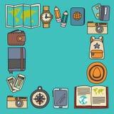 Комплект doodle вектора с приключением значков перемещения исследует картину Doodle рюкзака карты билета пасспорта камеры Стоковые Изображения RF