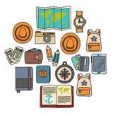 Комплект doodle вектора с приключением значков перемещения исследует картину Doodle рюкзака карты билета пасспорта камеры Стоковая Фотография