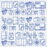 Комплект doodle вектора с приключением значков перемещения исследует картину Doodle рюкзака карты билета пасспорта камеры Стоковое Фото