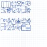 Комплект doodle вектора с приключением значков перемещения исследует картину Doodle рюкзака карты билета пасспорта камеры Стоковое фото RF
