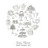 Комплект doodle времени чая эскиз Стоковое Изображение