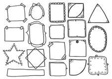 Комплект doodle выравнивает нарисованную рукой иллюстрацию вектора рамок Стоковые Изображения