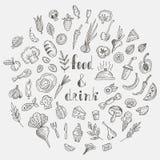 Комплект doodle еды и питья Иллюстрация вектора