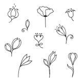Комплект doodle цветков иллюстрация штока