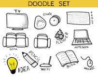 Комплект Doodle элементов интерьер handmade Мебель эскиза Стоковые Фото