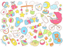 Комплект doodle Newborn младенца тематический Забота младенца, подавая, одежда, Стоковая Фотография RF