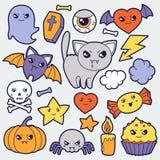 Комплект doodles и объектов kawaii хеллоуина милых иллюстрация штока