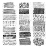 Комплект doodles нарисованных рукой изолированный на белой предпосылке иллюстрация штока
