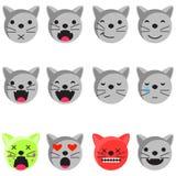 Комплект emoji улыбки кота Вектор стиля значка смайлика плоский Стоковое фото RF