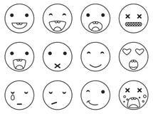 Комплект emoji улыбки плана круглый Вектор стиля значка смайлика линейный Стоковая Фотография