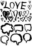 Комплект Grunge пузырей и сердец речи grungy влияния украшения Стоковое Фото