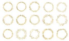 Комплект Handdrawn чернил 15 покрасил венки и лавры золота флористические Винтажные золотые элементы для wedding, праздника и при иллюстрация вектора