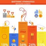 Комплект Infographics гимнастики Стоковое Изображение