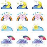 Комплект Kawaii значков погоды Стоковые Фото