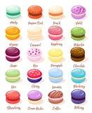 Комплект Macaroon с изолированными изображениями сладостных свежих испеченных печений миндалины различного вкуса и цвет vector ил иллюстрация вектора