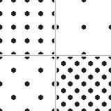 Комплект monochrome безшовной картины 4 с формой шестиугольника Иллюстрация штока