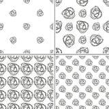 Комплект monochrome безшовной картины 4 с цветком doodle Иллюстрация штока