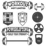 Комплект monochrome эмблем фитнеса, ярлыков, значков, логотипов и конструированных элементов Стоковая Фотография RF