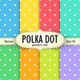 Комплект multicolour картин точки польки безшовных Стоковая Фотография
