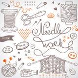 Комплект Needlework стоковые фотографии rf