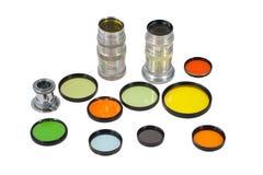 Комплект photofilters и объективов Стоковые Фото