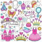 Комплект Princess Сказки Тиары Вектора Doodles иллюстрация штока