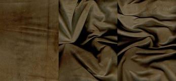 Комплект rumpled коричневых текстур кожи замши Стоковая Фотография