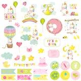 Комплект Scrapbook единорога ребёнка декоративные элементы Стоковые Фото