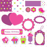 Комплект scrapbook дня рождения иллюстрация штока
