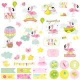 Комплект Scrapbook фламинго ребёнка декоративные элементы иллюстрация вектора