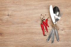 Комплект Silverware или flatware вилки, ложки и ножа Стоковые Фото