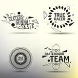 Комплект skateboarding emblems, ярлыки и конструировал Стоковая Фотография
