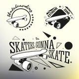 Комплект skateboarding emblems, ярлыки и конструировал Стоковое Изображение RF