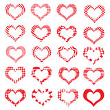 Комплект striped Валентайн сердец символа Стоковая Фотография