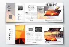 Комплект trifold брошюр, квадратных шаблонов дизайна Стоковое Изображение