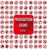 Комплект vecter знаков запрета Стоковые Изображения RF