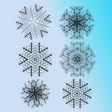 Комплект vectorized абстрактных снежинок Стоковые Изображения RF