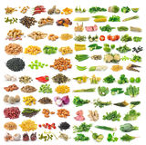 Комплект vegetable зерен и трав на белой предпосылке Стоковое Изображение RF