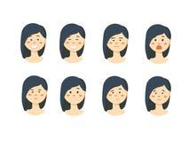 Комплект woman& x27; эмоции s Лицевое выражение Стоковое Изображение