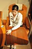 Комфорт бизнес-класса Сингапоре Аирлинес A-380 позволяет вам к st стоковые фото