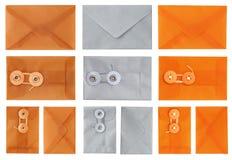 Конверты в оранжевых серебре и Tan Стоковое фото RF