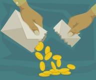 Конверты содержа монетки монета в 10 центов Стоковая Фотография RF