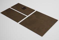 Конверты темного коричневого цвета с уплотнением Стоковая Фотография