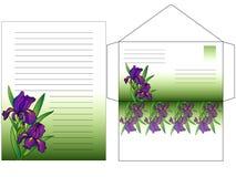 Конверт и лист для записи писем покрашенных с радужками цветков Установите для записи письма карточка 2007 приветствуя счастливое иллюстрация штока