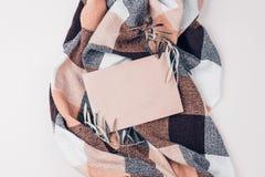 Конверт и прованские braches на взгляде сверху одеяла стоковые изображения rf