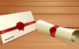Конверт с бумажным переченем и красным уплотнением воска иллюстрация штока