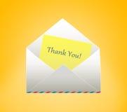 Конверт с письмом изолированный подарок карточки благодарит белизну вы Стоковое Изображение RF