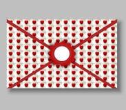 Конверт с уплотнением и малой картиной сердец томата Стоковые Изображения