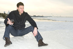 Конгяк человека выпивая Стоковое Изображение RF